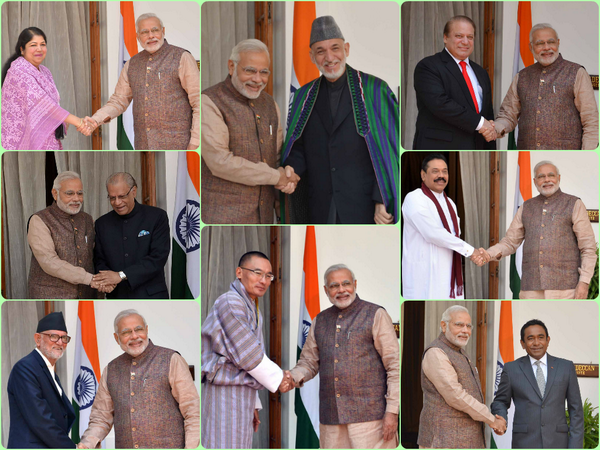 Modi with SAARC leaders at the swearing in ceremony